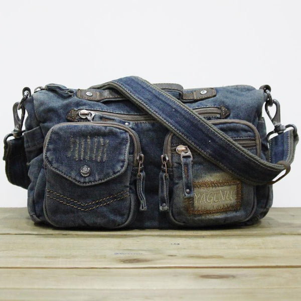 Blue Denim Mens Womens Side Bag Handbag Blue Jean Messenger Bag For Women