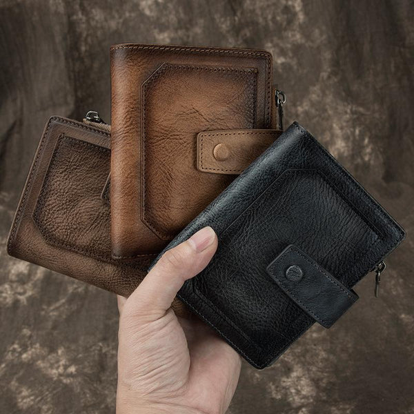 Cool Leather Brown Men's Zipper billfold Small Wallet Bifold Wallet Multi-Card Wallet For Men