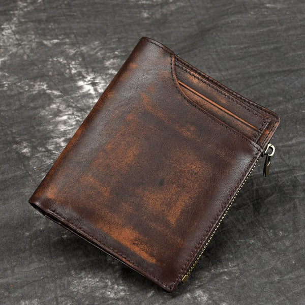 Brown MENS LEATHER Bifold Wallet Short Wallet Card Wallet Dark Brown Coin Wallet FOR MEN