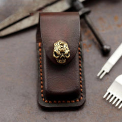 Skull Handmade Leather Mens Dunhill Lighter Case With Belt Loop Cool Dunhill Lighter Holders For Men