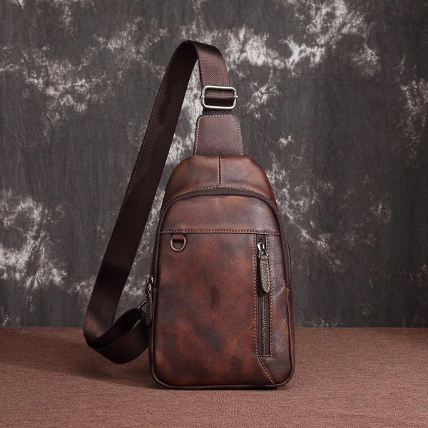 Casual Leather One Shoulder Backpack 10-inch Chest Bag Sling Bag Sling Crossbody Bag For Men