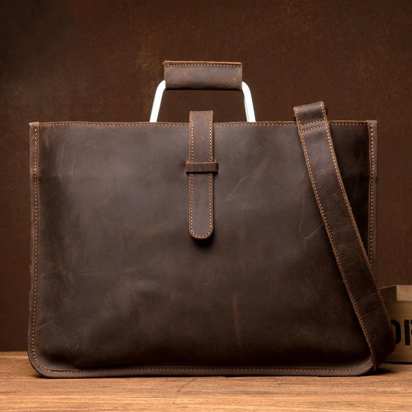 Cool Dark Brown Leather Mens 12 inches Briefcase Laptop Bag Business Side Bags Work Bag for Men