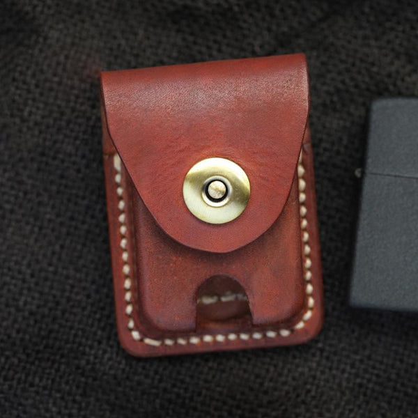 Cool Red Brown Handmade Leather Mens Classic Zippo Lighter Case With Belt Loop Lighter Holders For Men