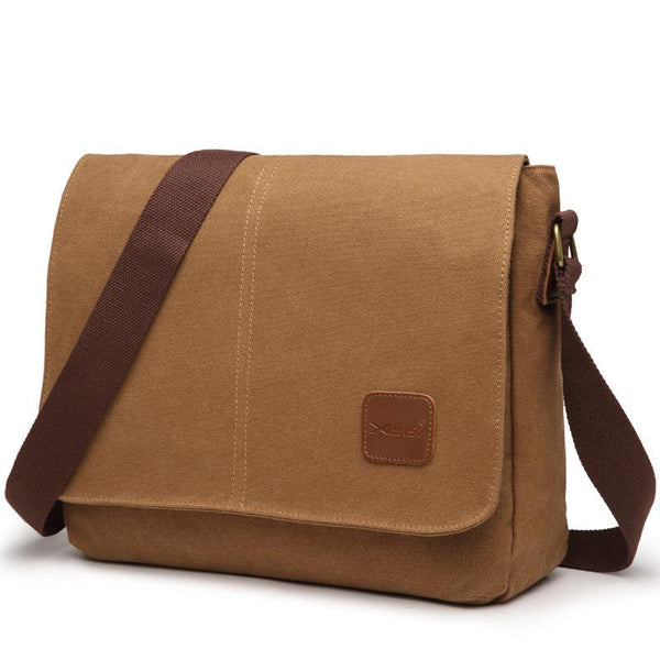 Cool Canvas Mens Side Bag Black Shoulder Bag Gray College Bag Khaki Messenger Bag for Men