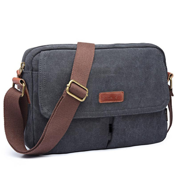 Cool Canvas Leather Mens Small Black Tablet Bag Shoulder Bag Gray Side Bag Messenger Bag for Men