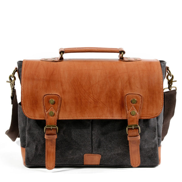 Waxed Canvas Leather Mens Retro 14'' Handbag Messenger Bag Computer Bag For Men