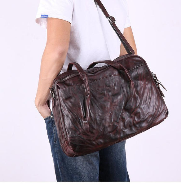 Coffee Leather Men's 14 inches inches Large Courier Bag Travel Bag Weekend Bag Messenger Bag Postman Bag For Men