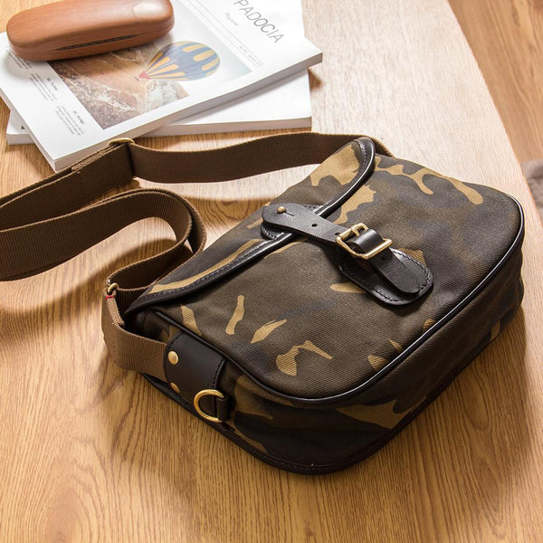 Canvas Mens Saddle Casual Camouflage Shoulder Bag Courier Bag Side Bag Messenger Bag for Men