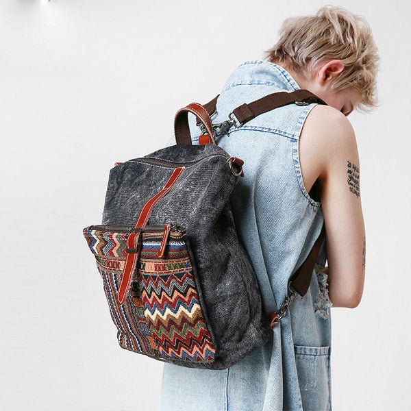 Vintage Canvas Leather Travel Bag Mens Backpack Canvas Canvas School Bag for Men