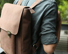 Cool Mens Leather Backpack Travel Backpacks Laptop Backpack for men