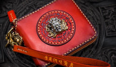 Handmade Leather Small Tooled Mens billfold Wallet Cool Chain Wallet Biker Wallet for Men