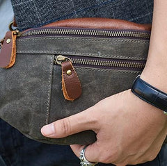 Canvas Leather Mens Fanny Pack Canvas Waist Bag Small Canvas Chest Bag for Men