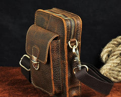 Cool Mens Small Leather Belt Pouch Holster Belt Case Waist Pouch Side Bag for Men