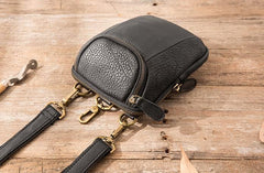 Black Leather Belt Pouch Mens Waist Bag Shoulder Bag for Men