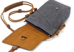 Cool Mens Waxed Canvas Leather Small Courier Bags Canvas Side Bags for Men