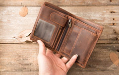 Cool Leather Mens Small Wallets Bifold Vintage Slim billfold Wallet for Men