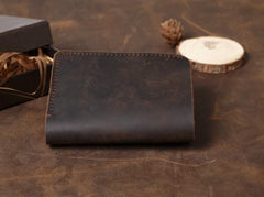 Cool Coffee Leather Mens Small Wallets Bifold Vintage Slim billfold Wallet for Men
