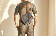 Mens Canvas Slim Cool Messenger Bag Side Bag Canvas Shoulder Bag for Men