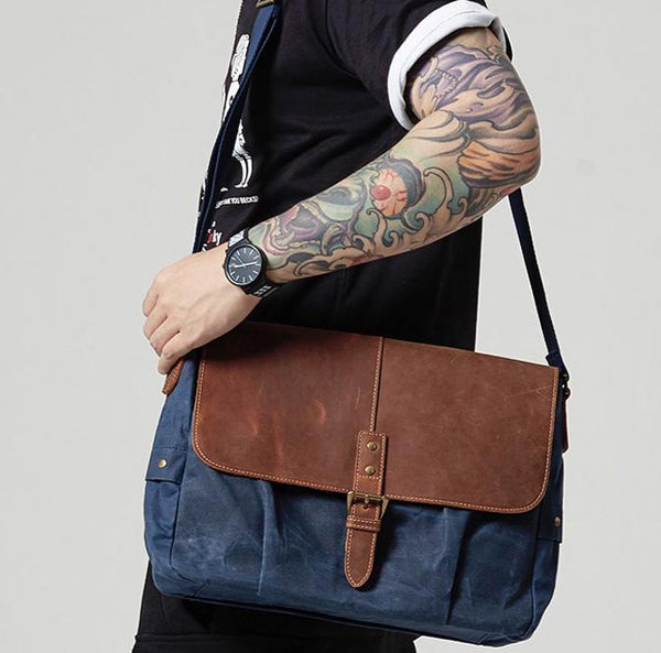 Navy Blue Leather Waxed Canvas Mens Side Bag Messenger Bags Gray Casual Courier Bags for Men