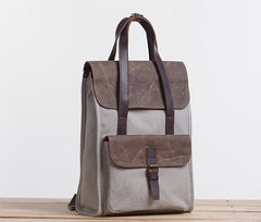 Cool Canvas Gray Mens Handbag Canvas Backpack Canvas Travel Bag for Men
