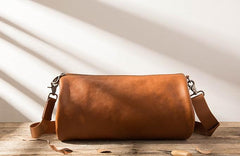 Cool Leather Mens Barrel Shoulder Bags Messenger Bags for Men