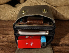 Small Mens Leather Belt Pouch Holsters Belt Cases Cell Phone Waist Pouches for Men