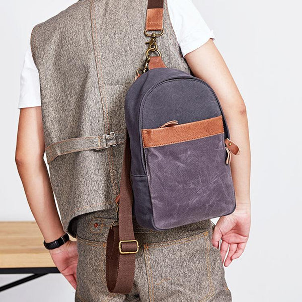 Canvas Mens Navy Sling Bag Sling Backpack One Shoulder Packs Chest Bags for men
