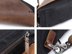 Mens Waxed Canvas Leather Triangular Side Bag Canvas Courier Bags for Men