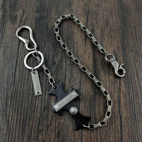 24'' HEAVY METAL CROSS BIKER SILVER WALLET CHAIN LONG PANTS CHAIN SILVER Jeans Chain Jean Chain FOR MEN