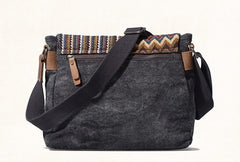 Vintage Mens Canvas Gray Cool Side Bag Messenger Bag Shoulder Bag for Men