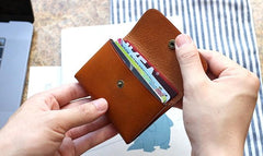 Leather Mens Front Pocket Wallet Small Wallet Card Wallet Change Wallets for Men