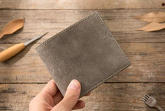 Cool Leather Mens Gray Small Wallet Bifold Vintage Slim billfold Wallet for Men