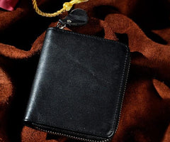Cool Leather Mens Zipper Small Wallet Front Pocket Wallet for Men