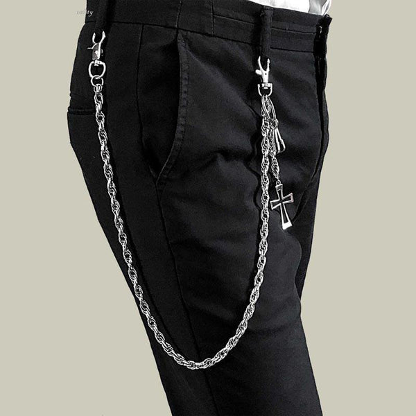 26'' Metal CROSS BIKER SILVER WALLET CHAIN LONG PANTS CHAIN SILVER Jeans Chain Jean Chain FOR MEN
