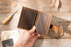 Leather Mens Card Holder Slim Front Pocket Wallets Card Wallet for Men