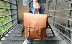 Cool Leather Mens Backpack Travel Backpack Laptop Backpack for men