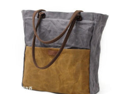 Mens Waxed Canvas Tote Bag Canvas Shopper Bag Canvas Shoulder Bag for Men