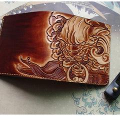 Handmade Leather Chinese Lion Tooled Mens billfold Wallet Cool Slim Wallet Biker Wallet for Men
