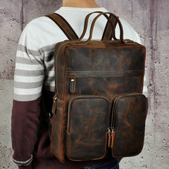 Casual Coffee Men's 15 inches Leather Laptop Backpack Computer Backpack School Backpacks For Men