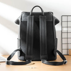 Black Fashion Mens Leather 15-inch Computer Backpacks Travel Backpacks School Backpack for men