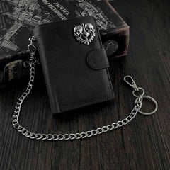 BADASS BROWN LEATHER MENS TRIFOLD SMALL BIKER WALLET BLACK CHAIN WALLET WALLET WITH CHAIN FOR MEN