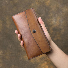 Cool Leather Brown Mens Long Wallet Envolpe Long Wallet Trifold Clutch Wallet for Men