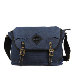 Casual Waxed Canvas Leather Mens Navy Blue Side Bag Messenger Bags Waxed Canvas Courier Bag for Men