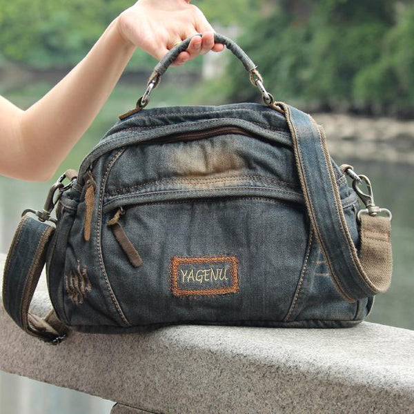 Casual Blue Denim Mens Womens Messenger Bag Jean Postman Bag Courier Bag For Women