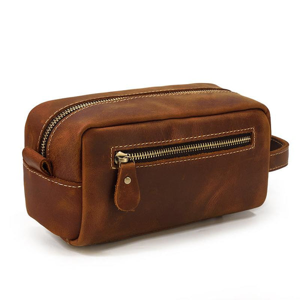 Brown MENS LEATHER ZIPPER CLUTCH WRISTLET PURSE CLUTCH BAG STORAGE BAG FOR MEN
