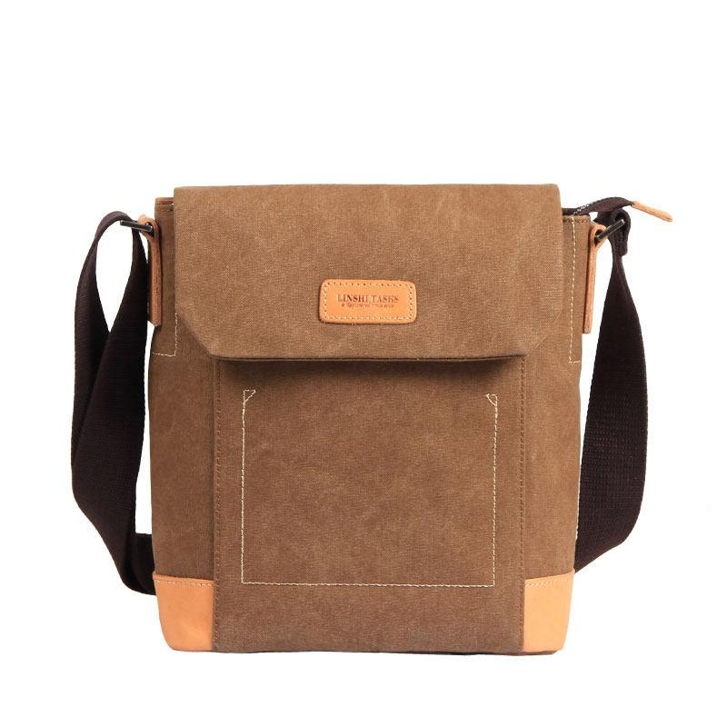Canvas Leather Mens Vertical Side Bag Small Messenger Bags Khaki Canvas Courier Bags for Men
