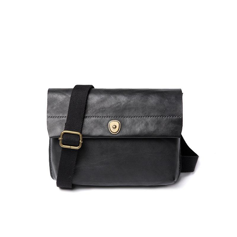 Fashionable Black Leather Mens Small Side Bag Messenger Bags Casual Shoulder Bags for Men