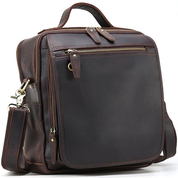 Black Coffee Fashion Leather Mens Vintage Small Handbag Shoulder Bags Side Bag For Men