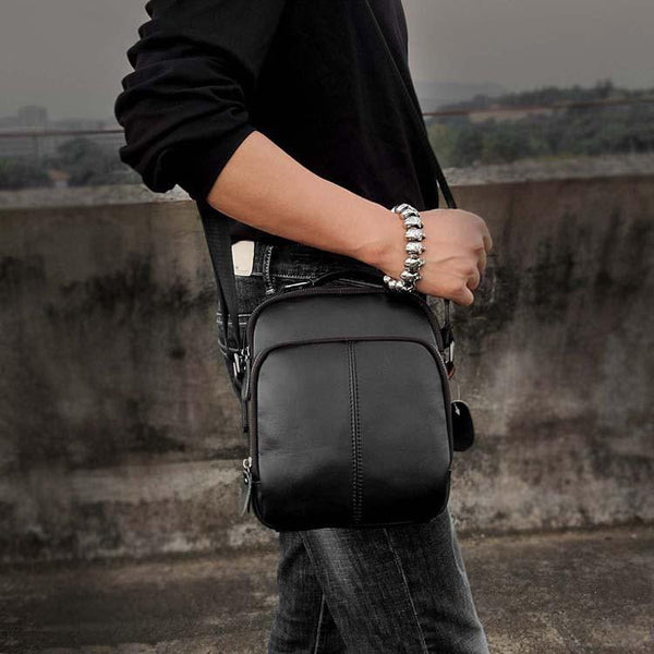 Casual Black LEATHER MENS SMALL VERTICAL Postman BAG SIDE BAG Cool COURIER BAG MESSENGER BAG FOR MEN