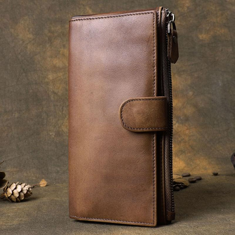 Brown Cool Leather Mens Long Wallet Phone Card Wallet Bifold Clutch Wallet for Men